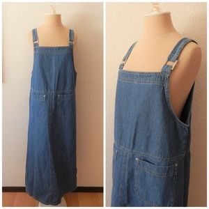 Vintage 90s Jean Denim Full Length Overall Dress